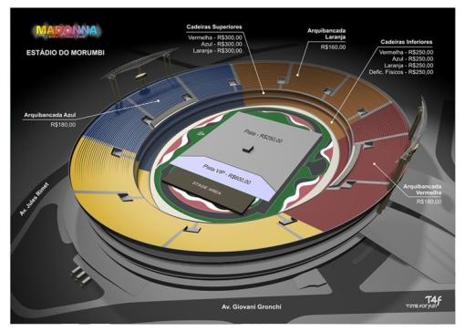 Mapa de lugares - Estádio do Morumbi, SP.